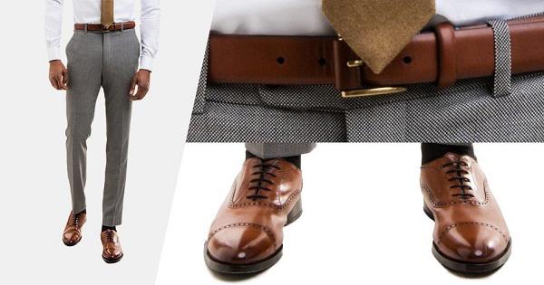 Chọn màu sắc cho thắt lưng khác với giày âu nam màu nâu