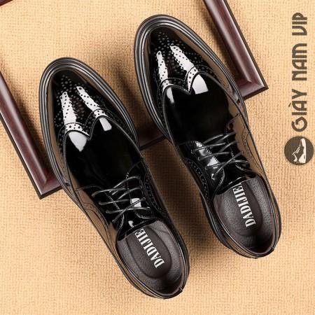 Giày tây nam brogue đen bóng sang trọng sành điệu