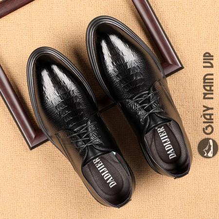 Giày tây nam buộc dây dập vân sang trọng cá tính