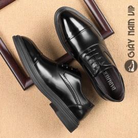 Giày tây nam hàng hiệu cột dây đen lỳ sang trọng