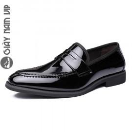 Giày lười nam penny loafer đen bóng chất chơi