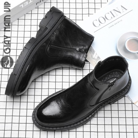 Giày boot cao cổ nam khóa kéo xuất khẩu nam tính mạnh mẽ