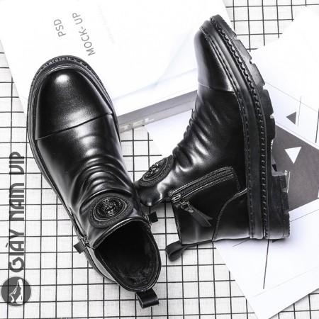 Giày boot nam cổ cao da bò khóa kéo thời trang cách điệu